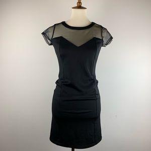 NWT Black Bongo Dress with Mesh Cap Sleeves Zipper